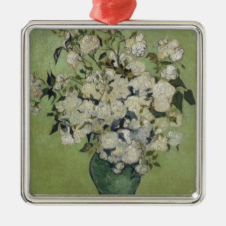 Vincent Van Gogh Vase of Roses Painting Floral Art Silver-Colored Square Decoration