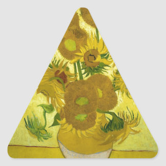 Vincent Van Gogh Vase With Fifteen Sunflowers 1888 Triangle Stickers