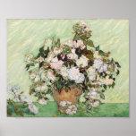 Vincent Van Gogh Vase With Pink Roses Floral Art Poster