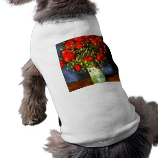 Vincent Van Gogh Vase With Red Poppies Floral Art Sleeveless Dog Shirt