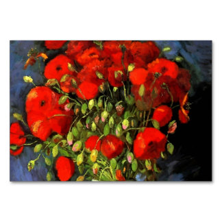 Vincent Van Gogh Vase With Red Poppies Floral Art Table Card