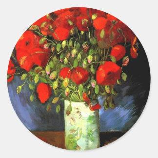 Vincent Van Gogh Vase With Red Poppies Round Sticker