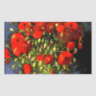 Vincent Van Gogh Vase With Red Poppies Rectangle Stickers