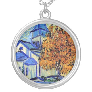 Vincent Van Gogh - View of the Asylum and Chapel Silver Plated Necklace