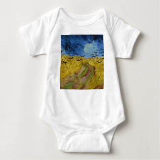 Vincent Van Gogh - Wheat Field with Crows Painting Baby Bodysuit