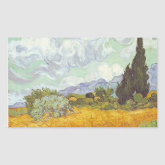Vincent Van Gogh -  Wheat Field with Cypresses Rectangular Sticker