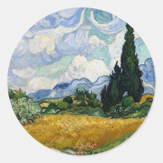 Vincent Van Gogh Wheat Field With Cypresses Round Sticker