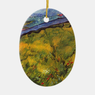 Vincent Van Gogh Wheat Field with Rising Sun Christmas Ornament