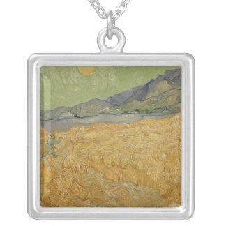 Vincent van Gogh | Wheatfield with Reaper, 1889 Silver Plated Necklace