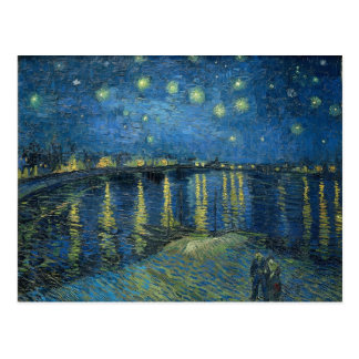 Vincent van Gogh's star night over the Rhone map Postcard