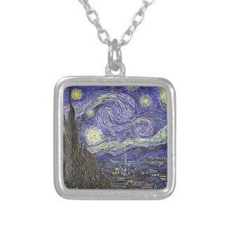 Vincent Van Gogh's 'Starry Night' Necklace Square Pendant Necklace
