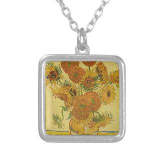 Vincent Van Gogh's 'Sunflowers' Necklace Square Pendant Necklace
