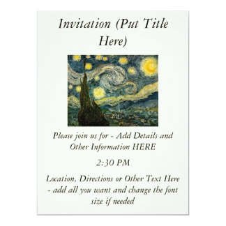 Vincent van Gogh's The Starry Night (1889) 6.5x8.75 Paper Invitation Card