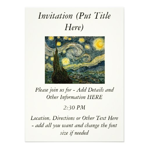 Vincent van Gogh's The Starry Night (1889) Invitations