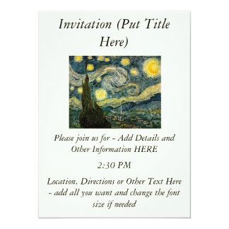Vincent van Gogh's The Starry Night (1889) 14 Cm X 19 Cm Invitation Card
