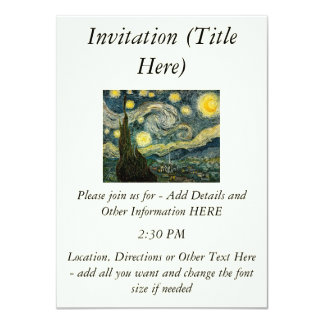Vincent van Gogh's The Starry Night (1889) 11 Cm X 16 Cm Invitation Card