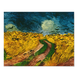 """Vincent van Gogh's Wheat Field with Crows (1890) 4.25"""" X 5.5"""" Invitation Card"""