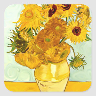 Vincent Van Gogh's Yellow Sunflower Painting 1888 Square Sticker