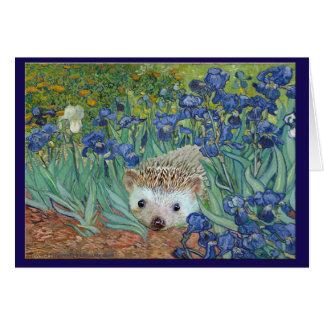 """Vincent van Hog's """"Irises and Also a Hedgehog."""" Card"""