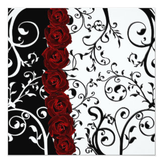 Vine Damask and Roses Goth Wedding Card
