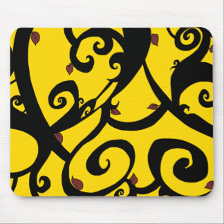 Vine Designs-red, yellow, and black-Series #2 -MP- Mouse Pad