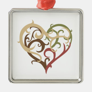 vine heart 4 Silver-Colored square decoration