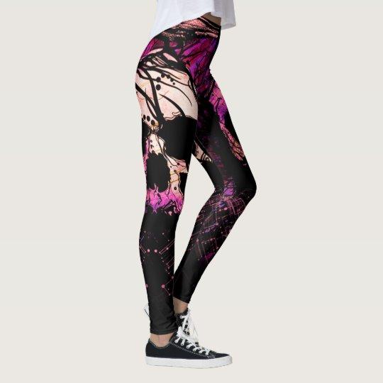 vine skulls purple galaxy womens leggings