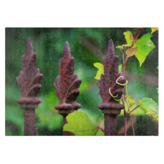 Vines Entwined Wrought Iron Fence Cutting Board