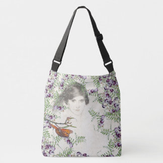 Vines Lady Butterfly Flowers Shoulder Tote Bag