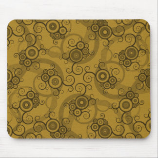 Vines Reticulation - Brown & Green Swirly Pattern Mouse Pad
