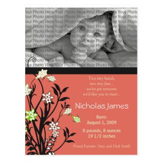 Viney Baby Birth Announcement Pink Postcard