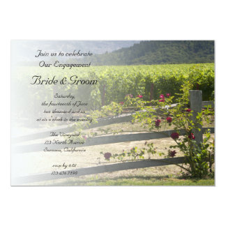 "Vineyard and Rose Fence Engagement Party Invite 5"" X 7"" Invitation Card"