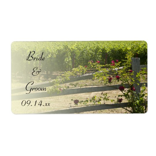 Vineyard and Rose Fence Wedding Favour Tags Shipping Label