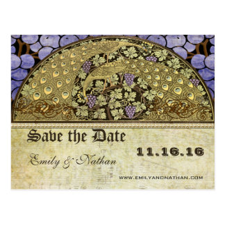 Vineyard Art Nouveau Peacock Birds Save the Date Postcard
