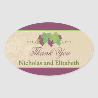Vineyard Grapes Thank You Oval Sticker
