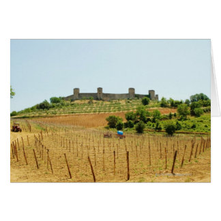 Vineyard in front of a fort, Monteriggioni, Greeting Card