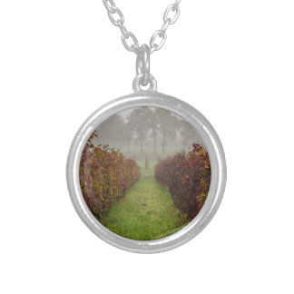 vineyard in the fog in autumn silver plated necklace
