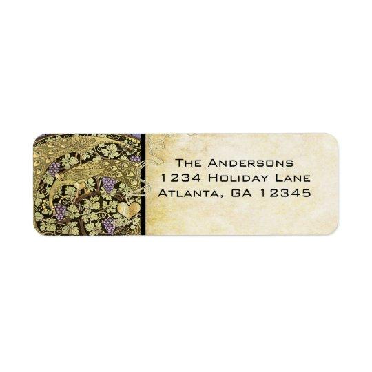 Vineyard Peacock Gold Purple Return Addres Lablels Return Address Label