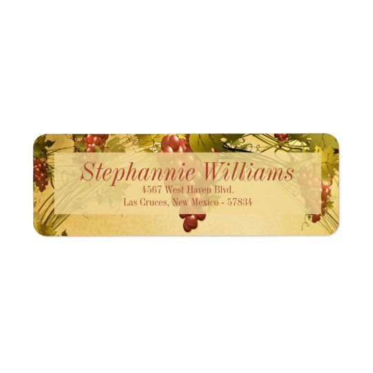 Vineyard Wedding Return Address Label