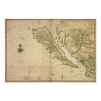 "Vingboons ""California as an Island"" (1650) Reprint Poster"