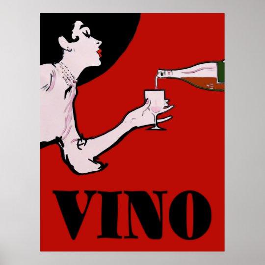 Vino- Wine Vintage Lady Posters