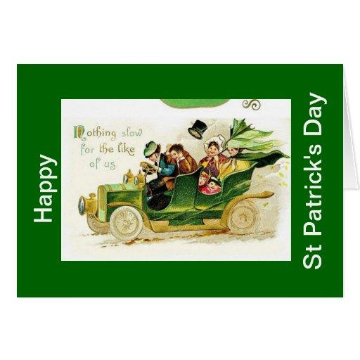 Vintaeg car, Happy St Patricks Day Card