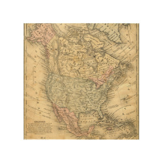 Vintag Map Print of North America