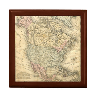 Vintag Map Print of North America Gift Box