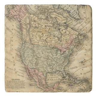 Vintag Map Print of North America Trivet