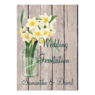 Vintag Mason Jar Daffodil Wedding Invitation Card