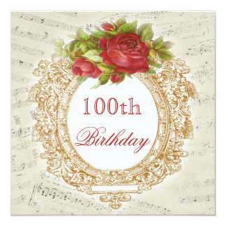 Vintage 100th Birthday Red Rose Frame Music Sheet 13 Cm X 13 Cm Square Invitation Card