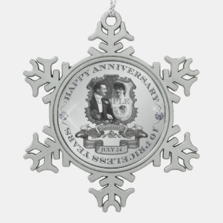 Vintage 10th Anniversary ID195 Pewter Snowflake Decoration
