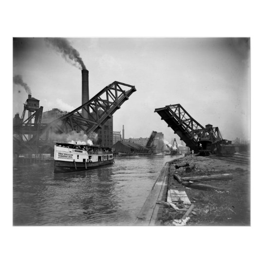 Vintage 12th St. Bascule Bridge, Chicago, Illinois Poster