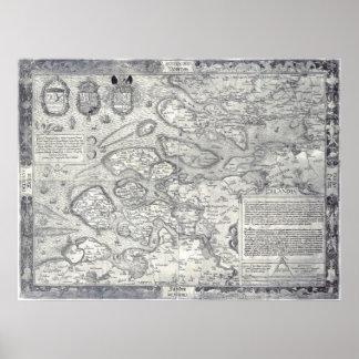 Vintage 1560 Map of Zealand Netherlands Deventer Poster